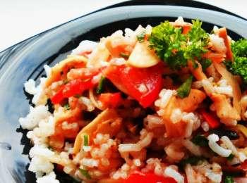 рецепт зимнего салата с помидорами и рисом