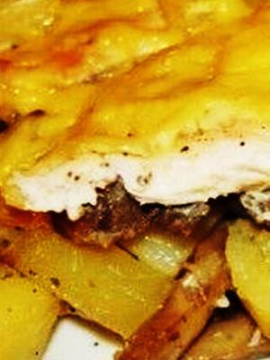 Рецепт картофеля в пароварке с куриным филе и грибами
