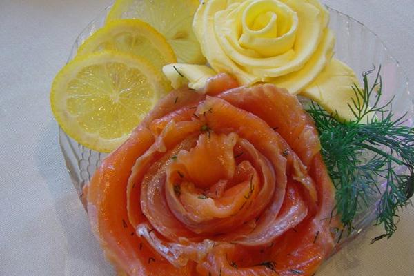 Праздничный набор для бутербродов (масло, семга и лимон)