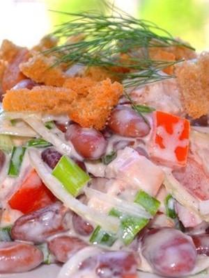 Как приготовить салат с красной фасолью консервированной