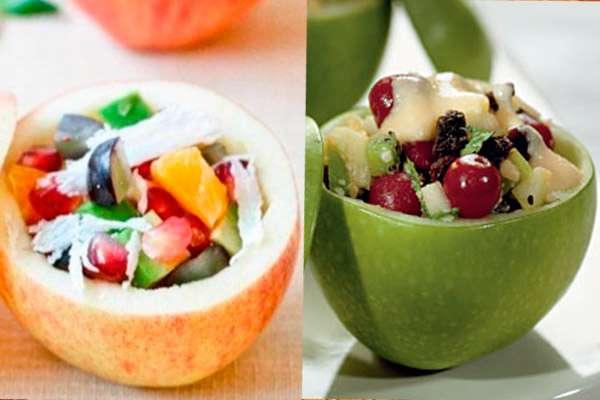 Оригинальное порционное оформление новогодних салатов