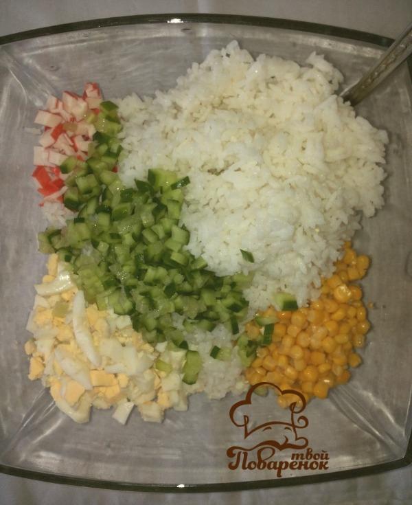 Салат с рисом и крабовым мясом рецепт с
