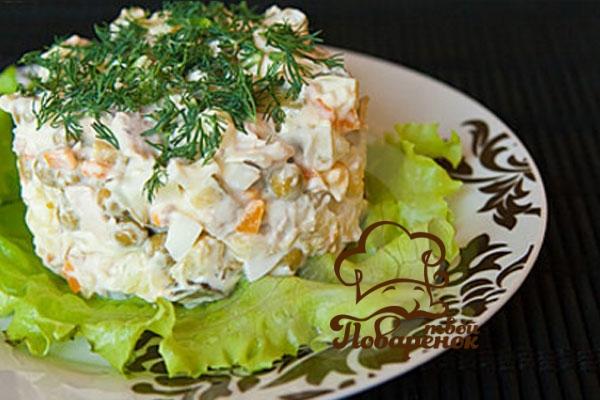 Салат оливье со свежими огурцами рецепт с