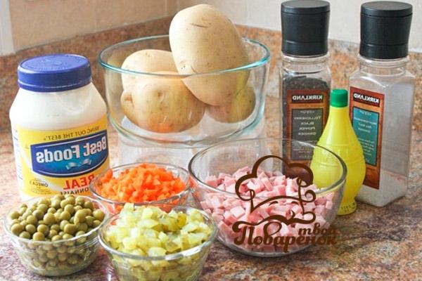 Ингредиенты для приготовления салата оливье слоями