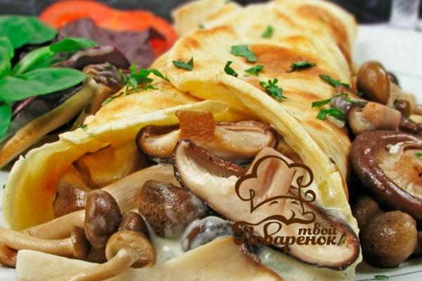 Блины с куриным мясом и грибами рецепт