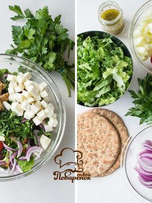 Греческий салат с сухариками - классический рецепт