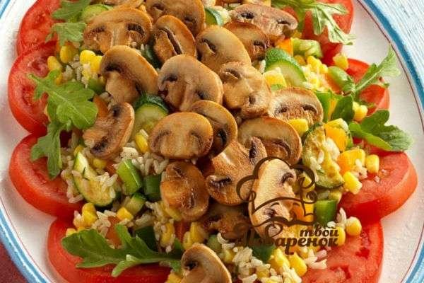Как делать салат с грибами и кукурузой