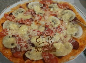 Пицца из тонкого лаваша в микроволновке