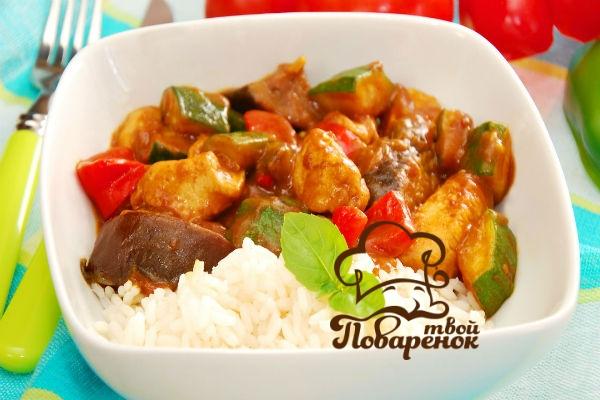 Рецепт тушёных кабачков с овощами и рисом